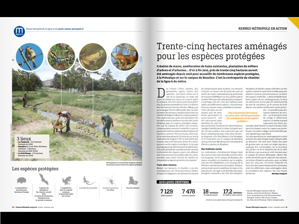 Rennes Métropole focus sur les compensations écologiques de la ligne b du métro de Rennes